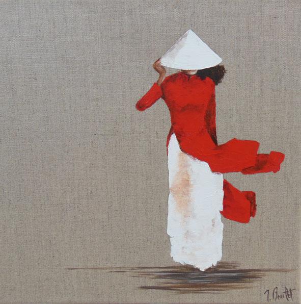Vietnam jeune fille en rouge (vendu)